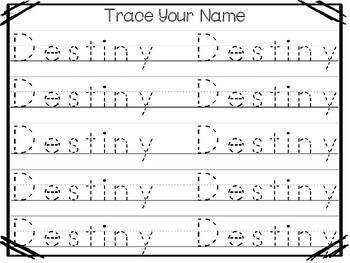 20 No Prep Destiny Name Tracing and Activities. Non-editable. Preschool-KDG Hand