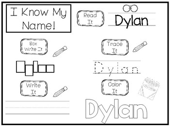 20 No Prep Dylan Name Tracing and Activities. Non-editable. Preschool-KDG Handwr