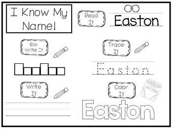 20 No Prep Easton Name Tracing and Activities. Non-editable. Preschool-KDG Handw