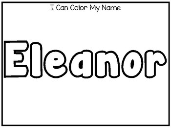 20 No Prep Eleanor Name Tracing and Activities. Non-editable. Preschool-KDG Hand