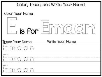 20 No Prep Emaan Name Tracing and Activities. Non-editable. Preschool-KDG Handwr