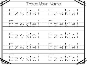 20 No Prep Ezekiel Name Tracing and Activities. Non-editable. Preschool-KDG Hand