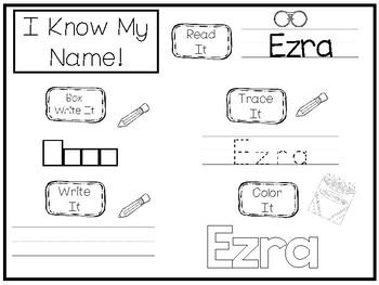 20 No Prep Ezra Name Tracing and Activities. Non-editable. Preschool-KDG Handwri