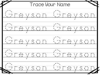 20 No Prep Greyson Name Tracing and Activities. Non-editable. Preschool-KDG Hand