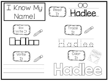 20 No Prep Hadlee Name Tracing and Activities. Non-editable. Daycare Writing Act