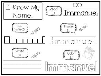 20 No Prep Immanuel Name Tracing and Activities. Non-editable. Preschool-KDG Ha