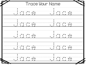 20 No Prep Jace Name Tracing and Activities. Non-editable. Daycare Writing Activ
