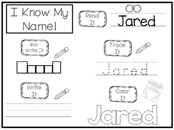 20 No Prep Jared Name Tracing and Activities. Non-editable. Preschool-KDG Handwr