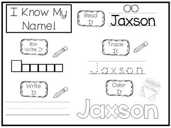 20 No Prep Jaxson Name Tracing and Activities. Non-editable. Daycare Writing Act