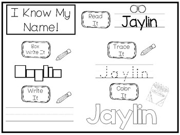 20 No Prep Jaylin Name Tracing and Activities. Non-editable. Daycare Writing Act