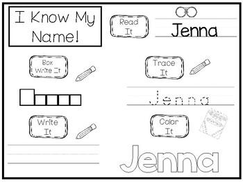 20 No Prep Jenna Name Tracing and Activities. Non-editable. Daycare Writing Acti