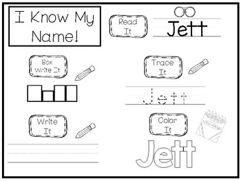 20 No Prep Jett Name Tracing and Activities. Non-editable. Daycare Writing Activ