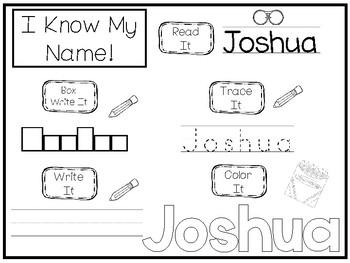 20 No Prep Joshua Name Tracing and Activities. Non-editable. Daycare Writing Act
