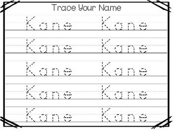 20 No Prep Kane Name Tracing and Activities. Non-editable. Preschool-KDG Handwri
