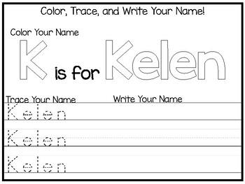 20 No Prep Kelen Name Tracing and Activities. Non-editable. Preschool-KDG Handwr