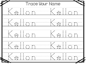 20 No Prep Kellon Name Tracing and Activities. Non-editable. Preschool-KDG Handw