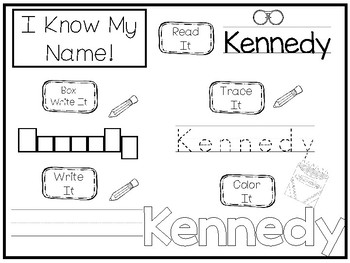 20 No Prep Kennedy Name Tracing and Activities. Non-editable. Preschool-KDG Hand