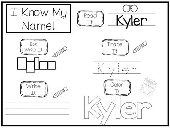20 No Prep Kyler Name Tracing and Activities. Non-editable. Preschool-KDG Handwr