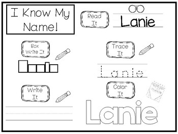 20 No Prep Lanie Name Tracing and Activities. Non-editable. Daycare Handwriting