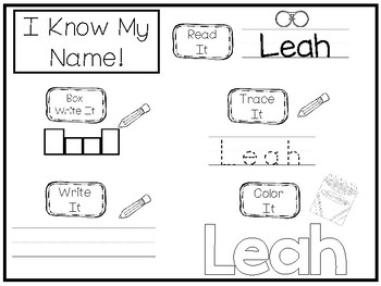20 No Prep Leah Name Tracing and Activities. Non-editable. Daycare Handwriting A