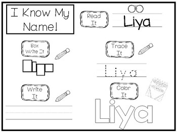 20 No Prep Liya Name Tracing and Activities. Non-editable. Daycare Handwriting A