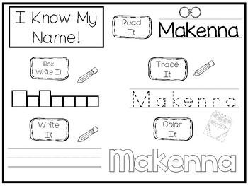 20 No Prep Makenna Name Tracing and Activities. Non-editable. Preschool-KDG Hand
