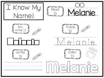 20 No Prep Melanie Name Tracing and Activities. Non-editable. Preschool-KDG Hand