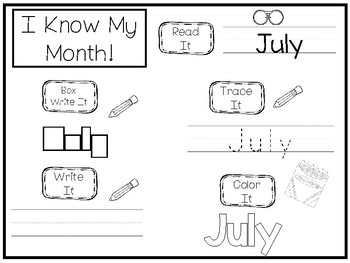 20 No Prep My Birthday Month July Tracing Worksheets and Activities. Handwriting