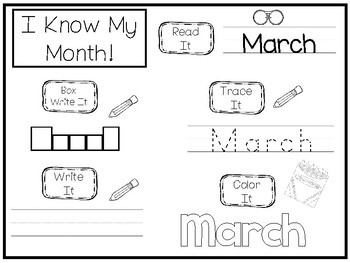20 No Prep My Birthday Month March Tracing Worksheets and Activities. Handwritin