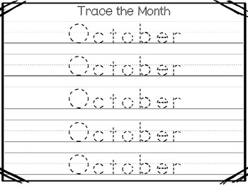 20 No Prep My Birthday Month October Tracing Worksheets and Activities. Handwrit