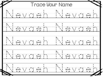 20 no prep nevaeh name tracing and activities non editable preschool kdg handw. Black Bedroom Furniture Sets. Home Design Ideas