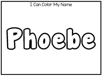 20 No Prep Phoebe Name Tracing and Activities. Non-editable. Preschool-KDG Handw