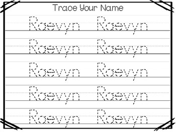 20 No Prep Raevyn Name Tracing and Activities. Non-editable. Preschool-KDG Handw