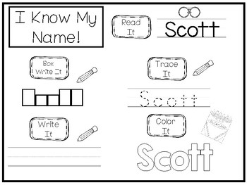 20 No Prep Scott Name Tracing and Activities. Non-editable. Preschool-KDG Handwr