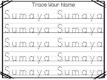 20 No Prep Sumaya Name Tracing and Activities. Non-editable. Daycare Handwriting