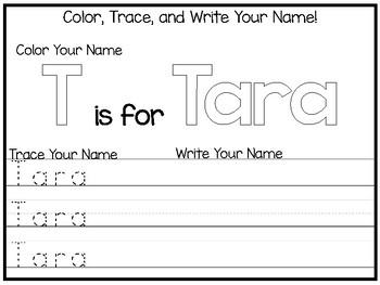 20 No Prep Tara Name Tracing and Activities. Non-editable. Preschool-KDG Handwri