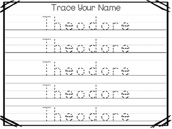 20 No Prep Theodore Name Tracing and Activities. Non-editable. Preschool-KDG Han