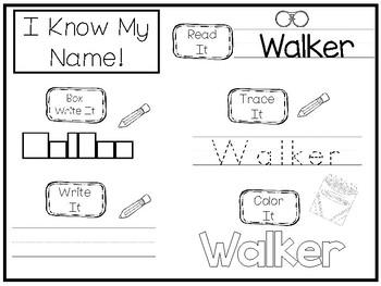 20 No Prep Walker Name Tracing and Activities. Non-editable. Preschool-KDG Handw
