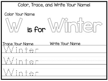 20 No Prep Winter Name Tracing and Activities. Non-editable. Preschool-KDG Handw
