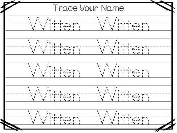 20 No Prep Witten Name Tracing and Activities. Non-editable. Preschool-KDG Handw
