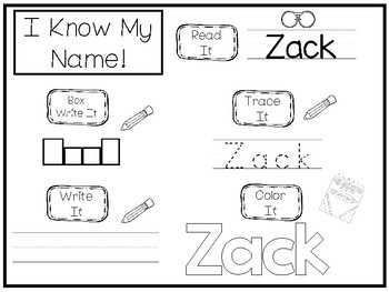 20 No Prep Zack Name Tracing and Activities. Non-editable. Daycare Handwriting A