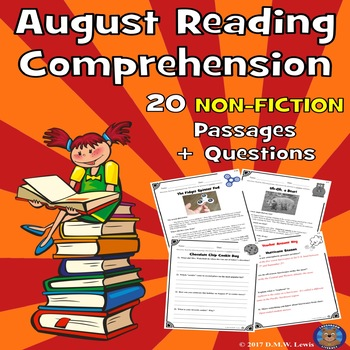 20 Summer Reading Comprehension Passages: August Reading Non-Fiction