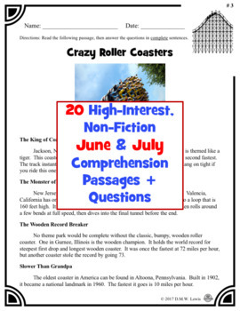 20 Summer Reading Comprehension Passages: June & July Reading Non-Fiction