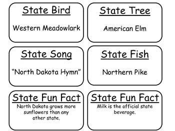 20 North Dakota State Fact Flashcards. 1st Grade-7th Grade
