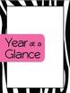 20 Notebook Inserts Pink Zebra Binder Organizer Dividers Tabs 2012-13 Calendar