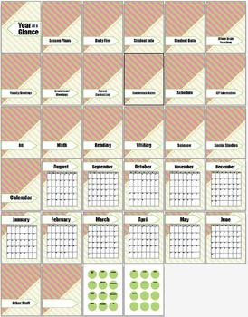 20 Notebook Inserts Stripe Binder Organizer Dividers Tabs 2012-13 Calendar PG