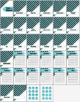 20 Notebook Inserts Stripe Binder Organizer Dividers Tabs 2012-13 Calendar TB