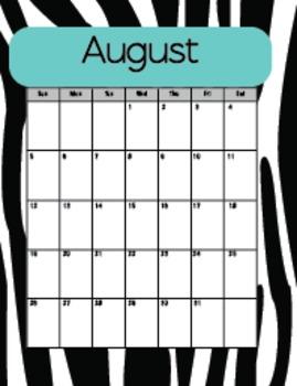 20 Notebook Inserts Teal Zebra Binder Organizer Dividers Tabs 2012-13 Calendar