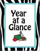20 Notebook Inserts Teal Zebra CA Binder Organizer Dividers Tab 2012-13 Calendar