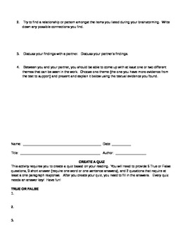 20 Novel and Play Worksheets and Activities